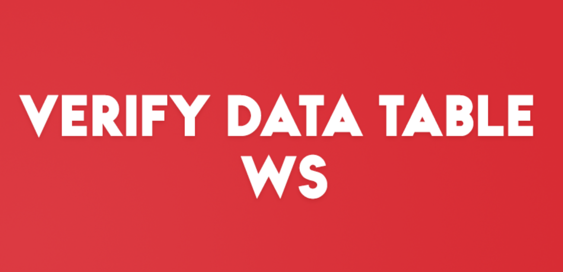 VERIFY DATA TABLE WS